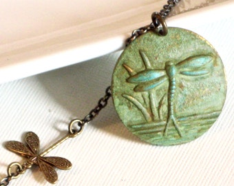 Dragonfly Medallion Necklace - Brass Dragonfly, Dragonfly Jewelry, Nature Jewelry, Verdigris Necklace, Patina Necklace