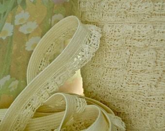 3yds Stretch Lace Ivory Trim Mesh Crochet ruffle 1/2 inch Elastic Trim Lingerie Headbands Diy Sewing Trim M12