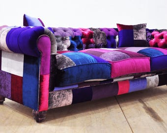 Chesterfield patchwork sofa - purple love