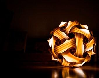 Natural wood - 30 pieces of natural pine veneer - lamp rhombic Tricontaedro