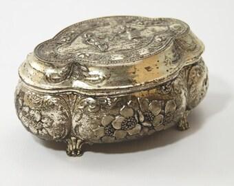 Vintage ornate small silver jewelry box