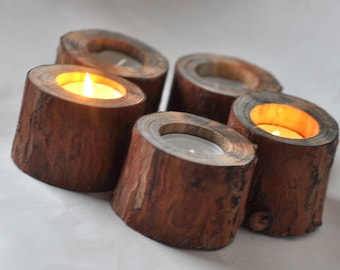 Natural Pine Candle Holder •  Pine wooden  Candle Holders