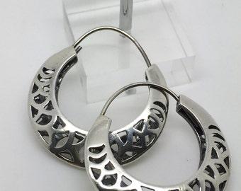 silver hoop earrings,lace earrings,925 sterling silver,hoop dangle earrings,silver earrings,gypsy earrings,ethnic earrings