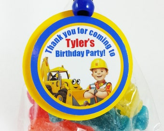 """Personalized Bob The Builder 1.75"""" Birthday Party Thank You Favor Tags"""