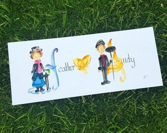 Couple, mariage, anniversaire, meilleurs amis, Union nom peinture - personnalisé, réalisé sur commande