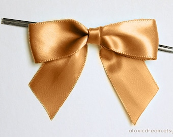 12 CARAMEL GOLD Pre-made Bow Embellishments