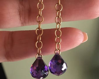 Ultraviolet cz cubic zirconia microfaceted pear teardrop crystal earrings gold filled warrings color of the year Pantone