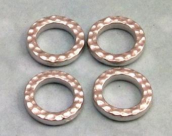 TierraCast Hammertone Small Round Link, Rhodium 4-Pc. TR11