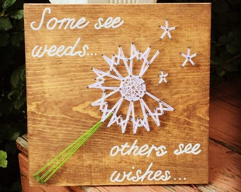 MADE TO ORDER Dandelion Wishes String Art Sign