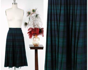 1950s Vintage Skirt -  Crisp Plaid Pleated Pendleton Skirt in Green, Navy and Black Classic Tartan Plaid