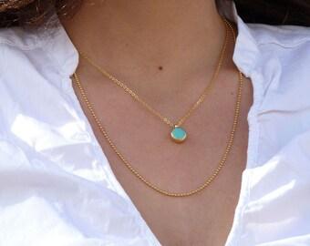 Turquoise Necklace, December Birthstone, Double Necklace Turquoise, Gemstones  necklace, 18k Gold Delicate Necklace, Bezel Set pendent.