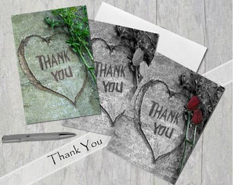 Thank You, Carved Heart with message, Card, Hearts Full of Thanks, Under 5 dollars, Black & White with roses or Color without roses