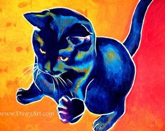 Black Cat, Pet Portrait, DawgArt, Cat Art, Pet Portrait Artist, Colorful Pet Portrait, Black Cat Art, Pet Portrait Painting, Art Prints