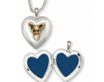 Chihuahua Photo Locket Jewelry Silver And Gold Handmade Dog Photo Locket CU10-TNT