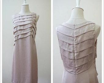 Unused Elegant Beige Silk Dress with nice details, Pure Silk, Party Dress, Size 40