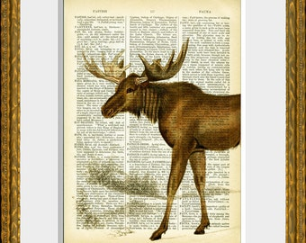 MOOSE - dictionary page print - an upcycled antique dictionary page with a vintage moose illustration - fun wall art for home and office