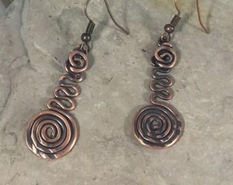 Copper Wire Earrings, Celtic Spiral Earrings, Aged Copper Earring, Wire Wrapped Copper Earrings, Lightweight dangle Earrings, Hypoallergenic
