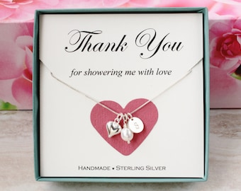 Bridal shower hostess gift for baby shower hostess Thank you gift for friend Sterling Silver inital heart necklace freshwater pearl gift box