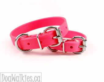 """Hot Neon Pink 3/4"""" (19mm) Beta Biothane Dog Collar - Leather Look and Feel - Custom Sized - Stainless Steel or Brass Hardware"""