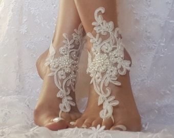 White or ivory Beach wedding barefoot sandals wedding shoes prom party steampunk bangle beach anklets bangles brid bridesmaid gift
