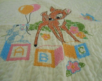 Vintage hand embroidered baby blanket