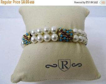 On Sale Vintage Faux Pearl and Jeweled Bracelet Item K # 1238