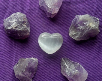 20 PERCENT OFF~Meditation Grid with Selenite Heart and Large Rough Amethyst Chunks