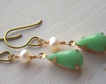 Ohrringe Gold Niob limitierte für empfindliche Ohren Vintage Mint und Süßwasser Perlen Tränen - Auflage