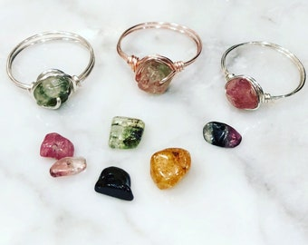 Tourmaline Ring • Silver, Rose Gold or Gold Wire • Wire wrapped ring • Gemstone ring • Boho ring • Positivity ring