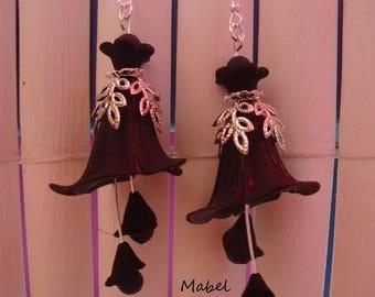 Black Stud Earrings, Bell arum, lucite, hematite, wedding