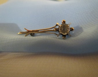 Georgian c1835 Halley's Comet 12K Yellow Gold Pin with Paste Stone