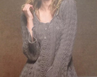Ladies Flared Lacy Cardigan Knitting Pattern