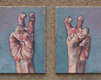 """Contemporary Fine Art Oil Painting Diptych, Air Quotes, Hand Gestures, Original Painting, Mix and Match Paintings - """"Air Quotes"""""""