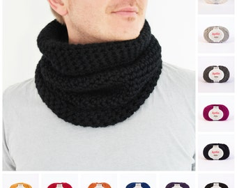 Chunky Crochet Cowl, Bulky Unisex Scarf Cowl, Infinity Scarf Snood for Women and Men, Black Wool Cowl, Gift for Him, Chunky Wrap, 10+ COLORS