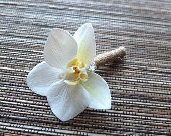 Ivory Orchid Boutonniere, Wedding Boutonniere, white phalaenopsis orchid Lapel