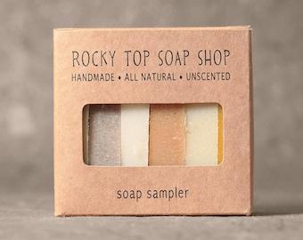 Facial Soap Sampler - All Natural Soap, Handmade Soap, Cold Process Soap, Unscented Soap, Vegan Soap, Facial Soap