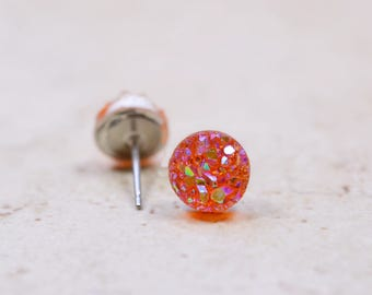 Tiny Peach Druzy Earrings, 8mm Round Druzy Earrings, Metallic Glitter Orange Coral Faux Drusy Posts Glittering Stainless Steel Studs