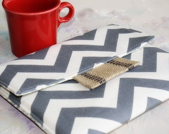 Kindle Cover Padded, Kindle Case, Nook Cover , Ereader Case, Custom Sleeve in Grey Chevron