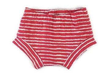 baby shorts - organic baby shorts- shorties - harem shorts - baby girl - baby boy - toddler shorts - red striped shorts -