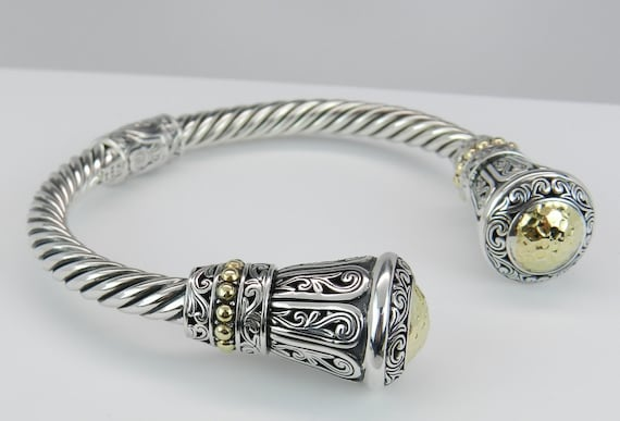 REDUCED Gorgeous Sterling Silver and 18K Yellow Gold Bangle Cuff Bracelet