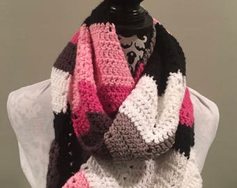 Chevron Crocheted Infinity Scarf