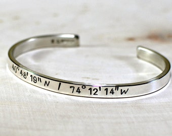 Latitude longitude bracelet in sterling silver for your personalized coordinates - 925 BR997