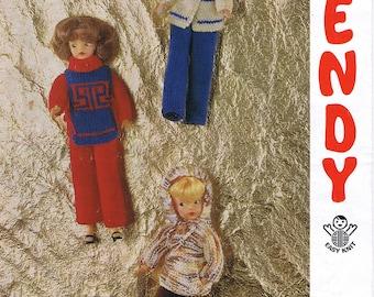 Doll Knitting Pattern, Vintage Doll Knitting Pattern, Teenage Doll Knitting Pattern, Old sindy doll knitting pattern, retro doll pattern