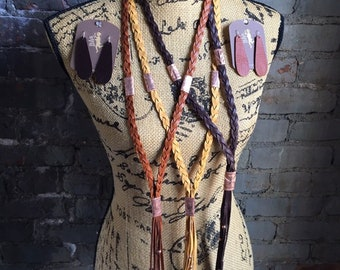 Braided Leather and Copper Tassel Necklace