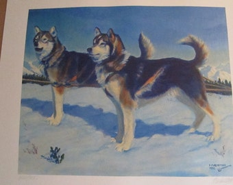 "Fred Machetanz ""They Opened the North Country"" Limited Alaskan Artist Lithograph / Husky"