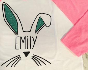 glitter bunny ears, kids easter shirt