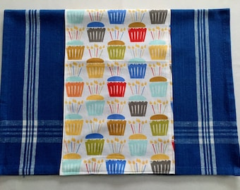 Happy Birthday Embellished Kitchen Towel with Cupcakes