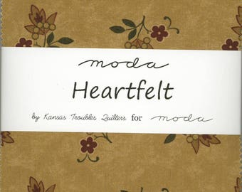 Heartfelt Charm Pack from Moda, Set of 42 5-inch Precut Cotton Fabric Squares (9470PP)
