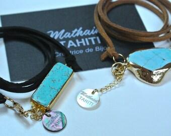 Stone of Turquoise leather strap charm bracelet