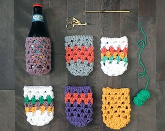 READY TO SHIP . Hand crocheted. beer/can/bottle/drink sleeve .